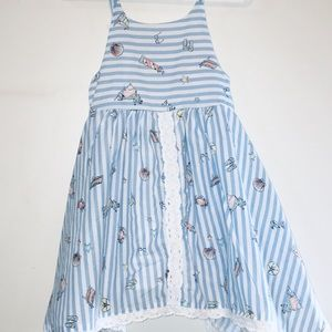 Blue and white toddler dress